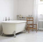 Strip flooring painted white